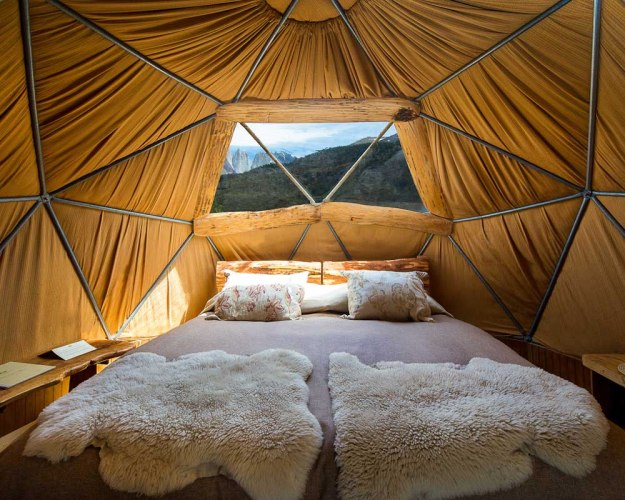 Dome tent with snuggly blankets
